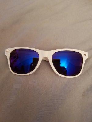 Lunettes de soleil rondes blanc-bleu