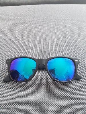 no name Occhiale da sole spigoloso nero-blu acciaio