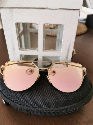 Occhiale da sole ovale color oro rosa-rosa pallido