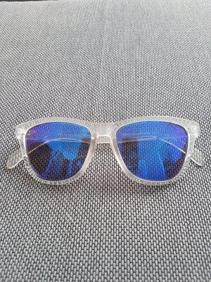 no name Occhiale da sole spigoloso blu acciaio