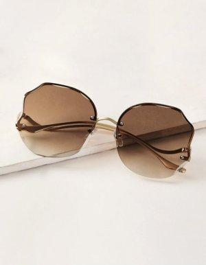 SheIn Owalne okulary przeciwsłoneczne beżowy