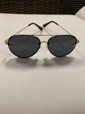 markenlos Gafas de sol redondas negro-color oro