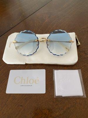 Sonnenbrille Chloé rund blau Gold Metal neu