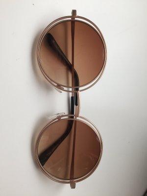 Okrągłe okulary przeciwsłoneczne w kolorze różowego złota-brązowy