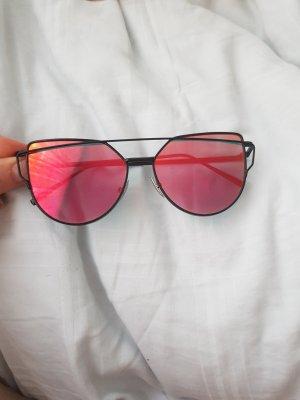 Amazon Okrągłe okulary przeciwsłoneczne czarny-czerwony