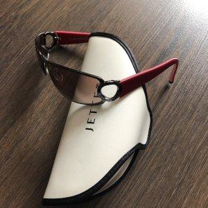 Jette Owalne okulary przeciwsłoneczne antracyt-ciemnoczerwony