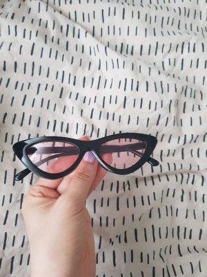 Amazon Lunettes de soleil angulaires noir-rose clair