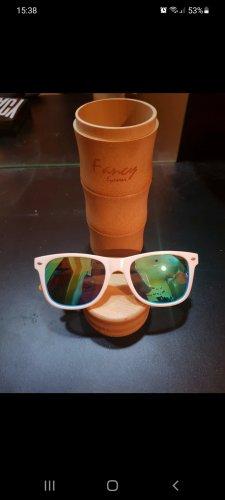 Fancy Eyewear Kwadratowe okulary przeciwsłoneczne biały-piaskowy brąz