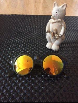 Bijou Brigitte Okrągłe okulary przeciwsłoneczne czarny-złotopomarańczowy