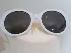 Zara Gafas de sol redondas blanco-color plata tejido mezclado