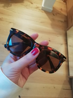 Angular Shaped Sunglasses dark brown-cognac-coloured