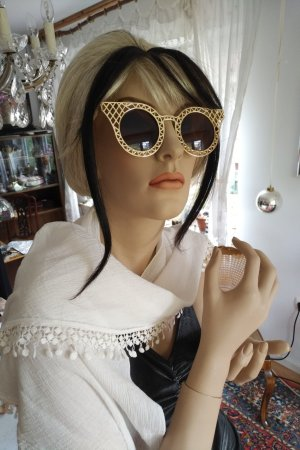 Vintage Angular Shaped Sunglasses gold-colored-light brown