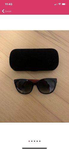 Gucci Lunettes de soleil ovales noir-rouge foncé
