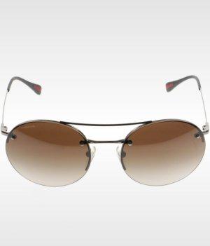 Prada Round Sunglasses silver-colored-light brown metal