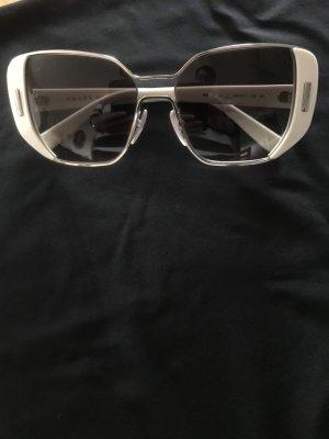 Prada Occhiale da sole spigoloso bianco sporco-argento