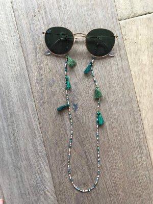 Collana di perle verde scuro-oro