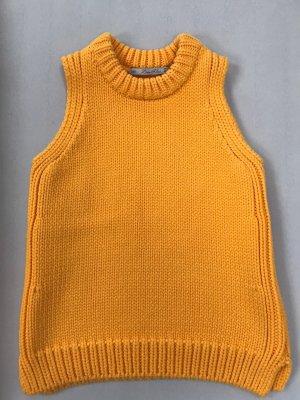 Zara Knit Cárdigan de punto fino naranja dorado-amarillo