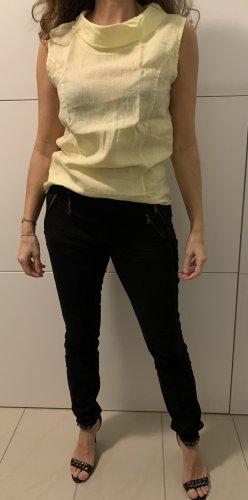 Sonnengelbes  Leinen Shirt mit Wasserfall Ausschnitt