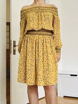 Michael Kors Sukienka midi żółty-ciemnoniebieski