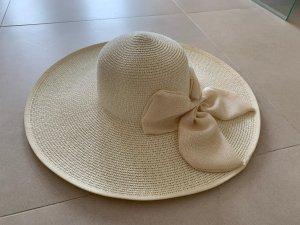 Chapeau à larges bords blanc cassé-crème
