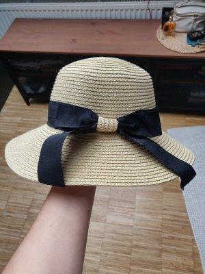 Sombrero de ala ancha negro-beige claro