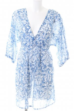 Tunikabluse blau-weiß abstraktes Muster Casual-Look