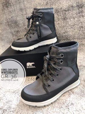Sorel Winter Boots NP140€  neu 36 grau Stiefel gefüttert wasserdicht Stiefeletten Schnee gefüttert blogger vintage