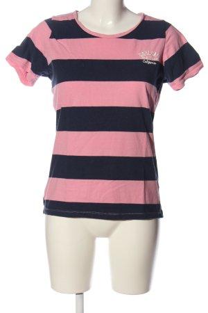 Soulcal&Co California Koszulka w paski różowy-niebieski Wzór w paski