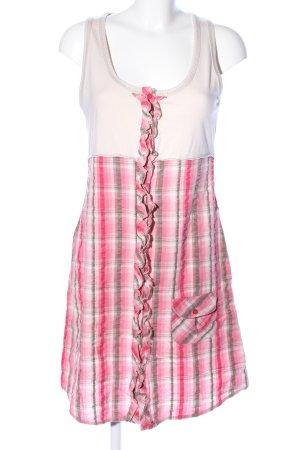 Soulmate A-Linien Kleid pink-creme Karomuster Casual-Look