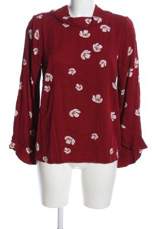 Soulmate Langarm-Bluse rot-weiß Blumenmuster Casual-Look