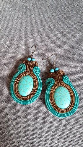 Soutache Ohrringe Handmade Unikat Türkis Blau