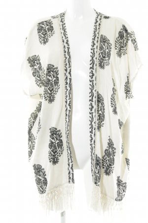 Soyaconcept Fringed Vest cream-black abstract pattern beach look