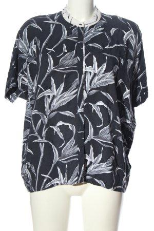 Soyaconcept Hemd-Bluse schwarz-weiß Allover-Druck Casual-Look