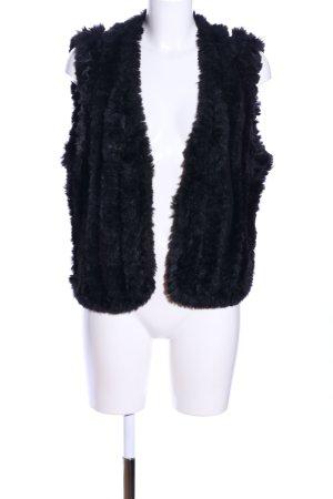 Soyaconcept Fake Fur Vest black striped pattern business style