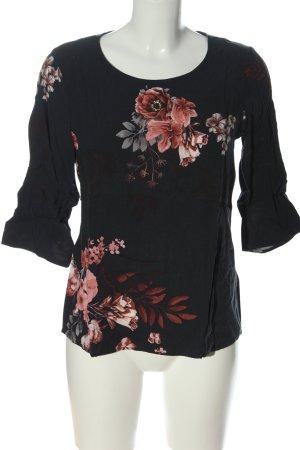 Soyaconcept Schlupf-Bluse schwarz-rot Blumenmuster Casual-Look
