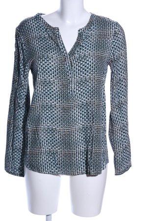Soyaconcept Langarm-Bluse türkis-schwarz abstraktes Muster Casual-Look