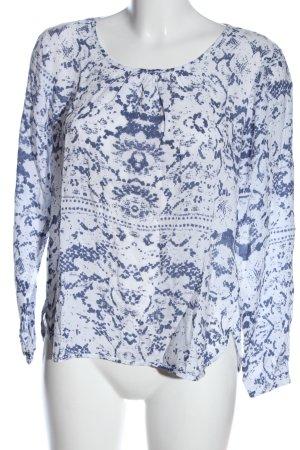 Soyaconcept Langarm-Bluse weiß-blau abstraktes Muster Casual-Look