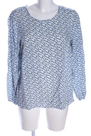 Soyaconcept Langarm-Bluse blau-schwarz Allover-Druck Casual-Look