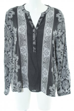 Soyaconcept Langarm-Bluse schwarz-hellgrau grafisches Muster Elegant