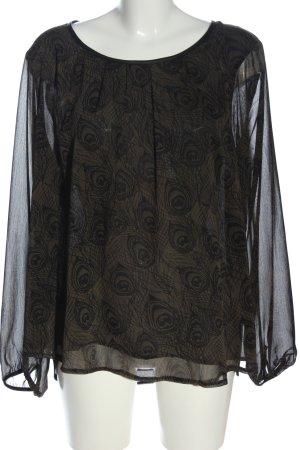 Soyaconcept Langarm-Bluse schwarz-khaki Allover-Druck Business-Look