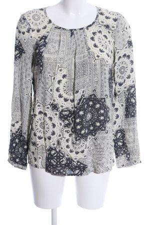 Soyaconcept Langarm-Bluse hellgrau-wollweiß abstraktes Muster Casual-Look