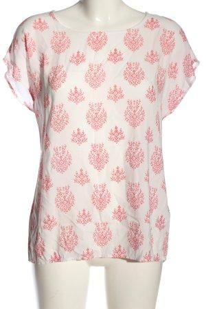 Soyaconcept Schlupf-Bluse weiß-pink Allover-Druck Casual-Look