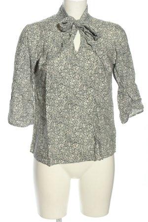 Soyaconcept Tie-neck Blouse khaki-natural white flower pattern business style