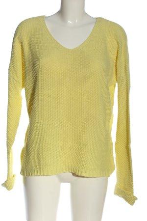 Soyaconcept V-Ausschnitt-Pullover blassgelb Zopfmuster Casual-Look