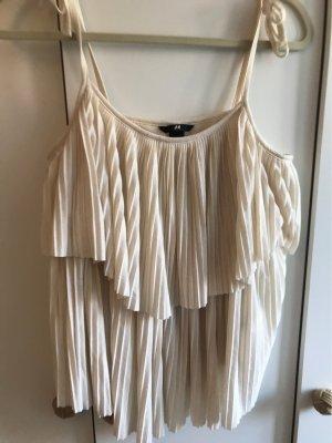 H&M Haut à volants blanc cassé-crème polyester
