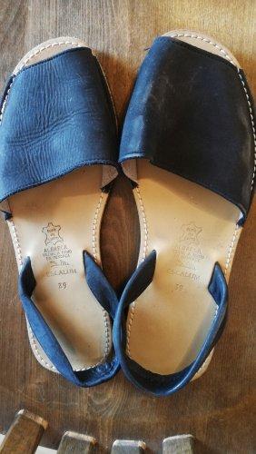 Pantofola blu scuro Pelle