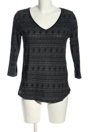 Sparkle & Fade V-Ausschnitt-Pullover hellgrau-schwarz Allover-Druck Casual-Look