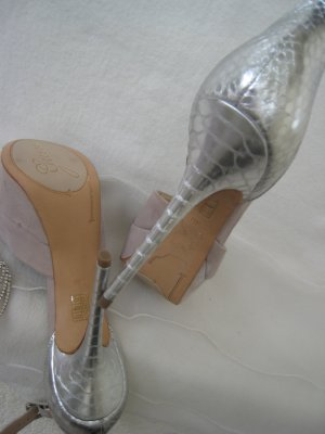 Guess High Heels cream-silver-colored leather