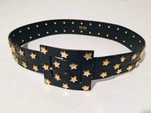 Escada Leather Belt black-gold-colored leather