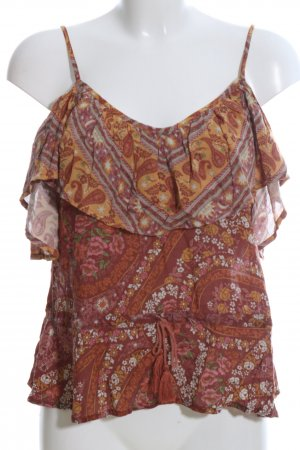 Spell & The Gypsy Volanttop braun-pink Allover-Druck Casual-Look